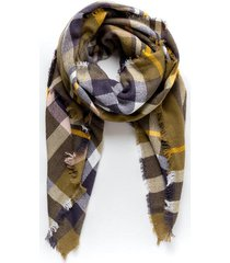 illinois plaid scarf - olive