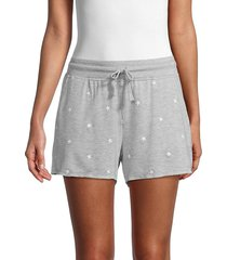 splendid women's embroidered star shorts - grey - size xs