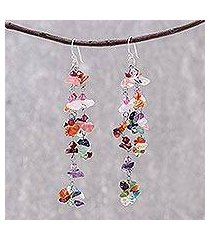 gemstone earrings, 'rainbow rain' (thailand)