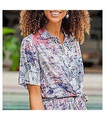 rayon tie-front blouse, 'wijaya kusuma' (indonesia)
