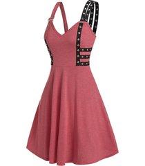 contrast grommet strap high waist cami dress