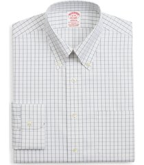 brooks brothers madison classic fit stretch windowpane dress shirt, size 18 - 36 in white at nordstrom