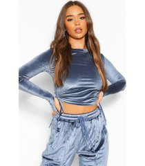geplooide velours crop top, dusty blue