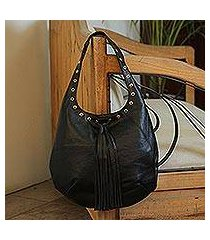 leather shoulder bag, 'relaxed chic in black' (mexico)
