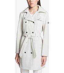 calvin klein hooded double-breasted water-resistant trench coat, created for macy's