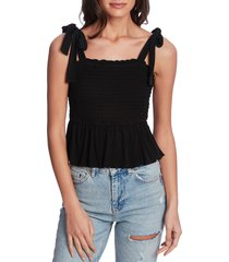 women's 1.state tie shoulder smocked peplum top, size x-large - black