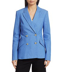 derek lam women's rodeo double-breasted stretch-silk jacket - blue - size 14