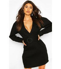 belted wrap balloon sleeve denim dress, black