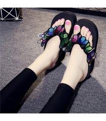 las mujeres sandalias casuales flip-flops butterfly beach plataforma cuñas antideslizamiento