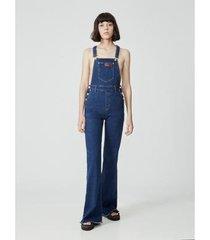 jardineira amapô jeans flare julieta feminina