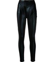 mugler embossed high-rise leggings - black
