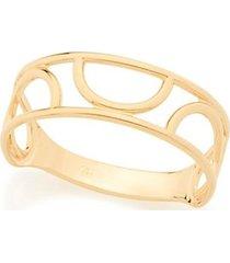 anel liso com detalhes vazados meio círculo rommanel