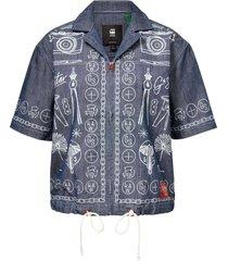 g-star hawaiian shirt chambray denim printed