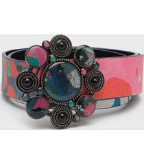 cinturón chapon bolas print reversible multicolor desigual