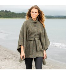hourihan green belted tweed cape