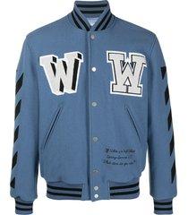 off-white logo varsity jacket - blue