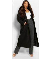 longline jas in wollook met dubbele knoopsluiting voor lange maten, zwart