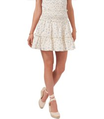 1.state cotton floral-print smocked eyelet tiered skirt