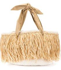 0711 woven straw beach bag - brown