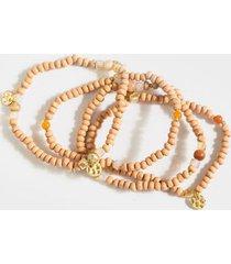freya wood beaded bracelet set - mauve