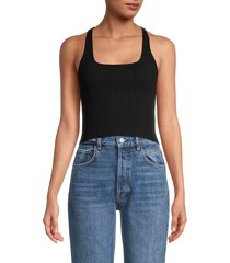 intimately free people women's ribbed cropped cami top - oat - size s