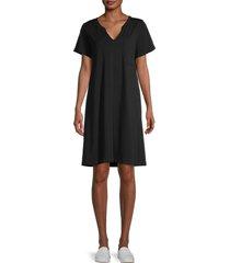 lea & viola women's cotton t-shirt dress - black - size s