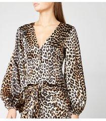 ganni women's silk stretch satin top - leopard - eu 42/uk 14