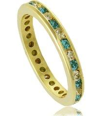 anel fino com cristais brancos e azuis 3rs semijoias dourado