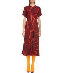 women's victoria beckham bridle print crepe midi dress, size 10 us / 14 uk - burgundy