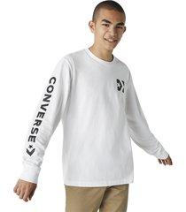 converse camiseta de manga larga wordmark white