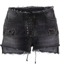 unravel project frayed lace-up denim shorts - black