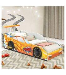 cama carro corredor solteiro laranja casah