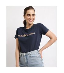 "t-shirt feminina mindset heart breaker"" manga curta decote redondo azul marinho"""