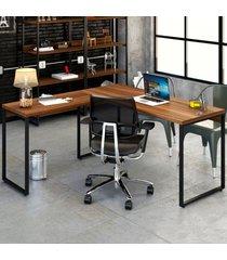 mesa para escritório angular kuadra nogal - compace