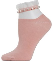sheer ruffle-cuff faux pearl anklet socks