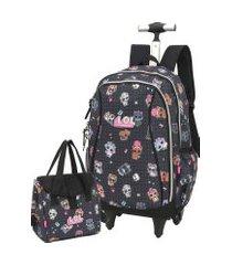 kit mochila de rodinha lol surprise juvenil notebook com lancheira luxcel  51316 preta
