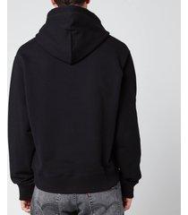 kenzo men's logo classic hooded sweatshirt - black - xl