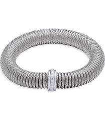 alor women's stainless steel, 18k white gold & diamond bracelet - silver