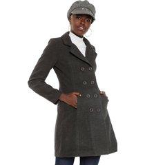 casaco sobretudo facinelli by mooncity botões cinza - kanui