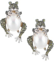 cz by kenneth jay lane women's animal trend rhodium-plated, 13mm x 10mm pearl & crystal frog earrings