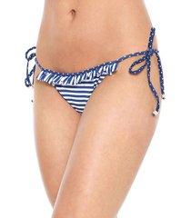 calcinha lili sampedro string babados branca/azul-marinho