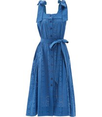 square-neck broderie-anglaise cotton midi dress