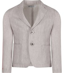 dondup grey boy jacket with iconic d