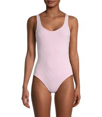 solid and striped women's the anne-marie quilted one-piece swimsuit - orchid - size s