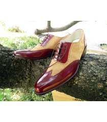 handcrafted wing tip leather suede shoes bespoke formal dress tuxedo shoes