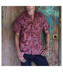 men's cotton batik shirt, 'light and shadow' (indonesia)