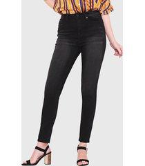 jeans wados pitillo un botón negro - calce ajustado