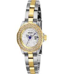 reloj invicta acero dorado modelo 284ek para dama, colección angel