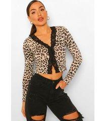 geribbelde luipaardprint cardigan top met kanten zoom, leopard