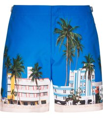 orlebar brown bulldog ocean drive-print swim shorts - blue